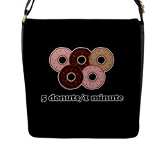 Five Donuts In One Minute  Flap Messenger Bag (l)  by Valentinaart