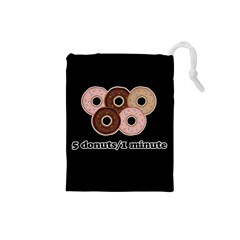 Five Donuts In One Minute  Drawstring Pouches (small)  by Valentinaart