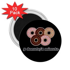 Five Donuts In One Minute  2 25  Magnets (10 Pack)  by Valentinaart