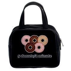 Five Donuts In One Minute  Classic Handbags (2 Sides) by Valentinaart