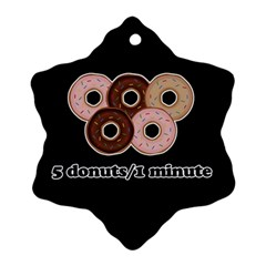 Five Donuts In One Minute  Ornament (snowflake) by Valentinaart