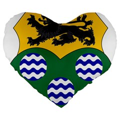 County Leitrim Coat Of Arms Large 19  Premium Heart Shape Cushions by abbeyz71