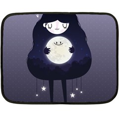 Moon Double Sided Fleece Blanket (mini)  by Mjdaluz