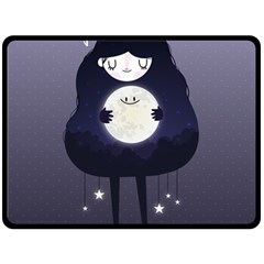 Moon Fleece Blanket (large)  by Mjdaluz
