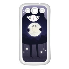 Moon Samsung Galaxy S3 Back Case (white) by Mjdaluz