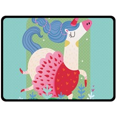 Unicorn Double Sided Fleece Blanket (large)  by Mjdaluz