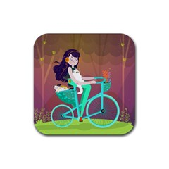 Bikeride Rubber Square Coaster (4 Pack)  by Mjdaluz