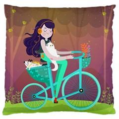 Bikeride Large Cushion Case (two Sides) by Mjdaluz