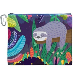 Sloth In Nature Canvas Cosmetic Bag (xxxl) by Mjdaluz