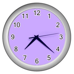 Pastel Color   Pale Blue Violet Wall Clocks (silver)  by tarastyle