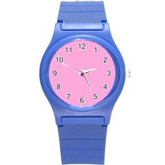 Pastel Color   Pale Cerise Round Plastic Sport Watch (s) by tarastyle