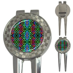 Glittering Kaleidoscope Mosaic Pattern 3 In 1 Golf Divots by Costasonlineshop