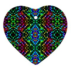 Glittering Kaleidoscope Mosaic Pattern Heart Ornament (two Sides)