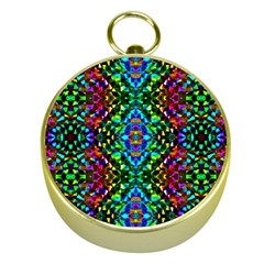 Glittering Kaleidoscope Mosaic Pattern Gold Compasses by Costasonlineshop