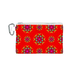 Rainbow Colors Geometric Circles Seamless Pattern On Red Background Canvas Cosmetic Bag (S) by Vayuart