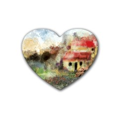 Old Spanish Village Heart Coaster (4 Pack)  by theunrulyartist