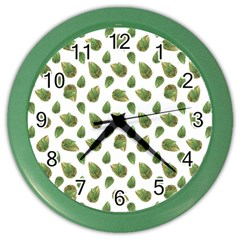 Leaves Motif Nature Pattern Color Wall Clocks by dflcprints
