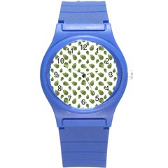 Leaves Motif Nature Pattern Round Plastic Sport Watch (s) by dflcprints