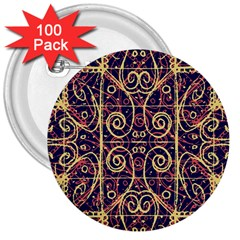 Tribal Ornate Pattern 3  Buttons (100 pack)