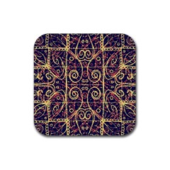 Tribal Ornate Pattern Rubber Square Coaster (4 Pack)  by dflcprints