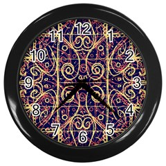 Tribal Ornate Pattern Wall Clocks (black) by dflcprints