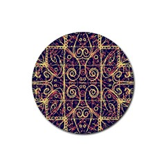 Tribal Ornate Pattern Rubber Round Coaster (4 Pack)  by dflcprints