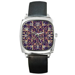 Tribal Ornate Pattern Square Metal Watch