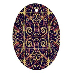 Tribal Ornate Pattern Oval Ornament (Two Sides)