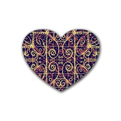 Tribal Ornate Pattern Rubber Coaster (heart)  by dflcprints