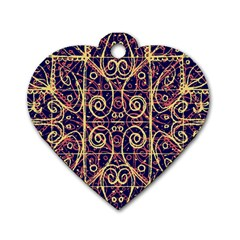 Tribal Ornate Pattern Dog Tag Heart (two Sides) by dflcprints