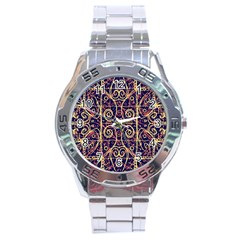 Tribal Ornate Pattern Stainless Steel Analogue Watch