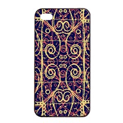 Tribal Ornate Pattern Apple Iphone 4/4s Seamless Case (black) by dflcprints