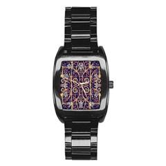 Tribal Ornate Pattern Stainless Steel Barrel Watch
