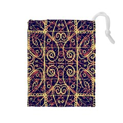 Tribal Ornate Pattern Drawstring Pouches (large)  by dflcprints