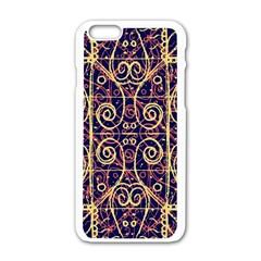 Tribal Ornate Pattern Apple iPhone 6/6S White Enamel Case