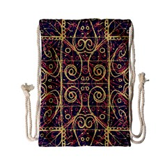 Tribal Ornate Pattern Drawstring Bag (small) by dflcprints