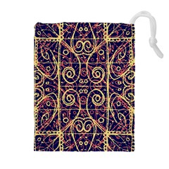 Tribal Ornate Pattern Drawstring Pouches (Extra Large)