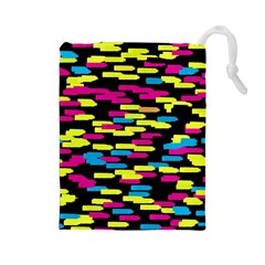 Colorful Strokes On A Black Background             Drawstring Pouch by LalyLauraFLM