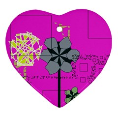 Flowers And Squares              Ornament (heart) by LalyLauraFLM