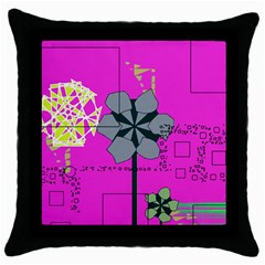 Flowers And Squares              Throw Pillow Case (black) by LalyLauraFLM