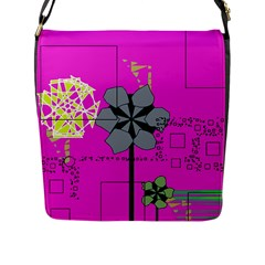 Flowers and squares              Flap Closure Messenger Bag (L)