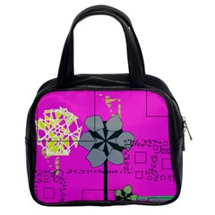 Flowers And Squares              Classic Handbag (two Sides) by LalyLauraFLM