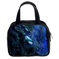 Shiny Blue Pebbles Classic Handbags (2 Sides) by linceazul