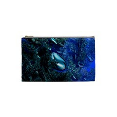Shiny Blue Pebbles Cosmetic Bag (small)  by linceazul