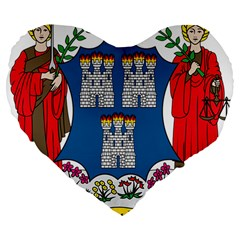 City Of Dublin Coat Of Arms Large 19  Premium Heart Shape Cushions by abbeyz71
