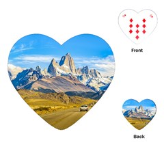 Snowy Andes Mountains, El Chalten, Argentina Playing Cards (heart)  by dflcprints