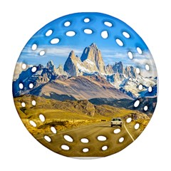 Snowy Andes Mountains, El Chalten, Argentina Ornament (round Filigree) by dflcprints