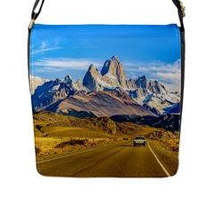 Snowy Andes Mountains, El Chalten, Argentina Flap Messenger Bag (L)