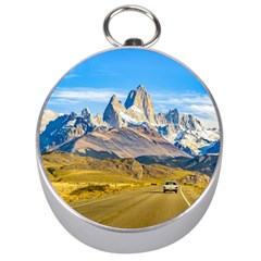 Snowy Andes Mountains, El Chalten, Argentina Silver Compasses by dflcprints