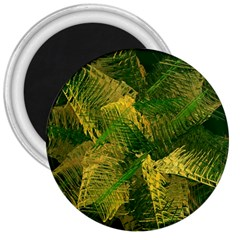 Green And Gold Abstract 3  Magnets by linceazul